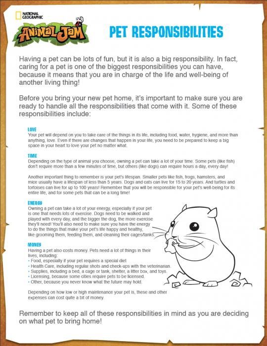 This handy-dandy worksheet will help teach kids about pet ...