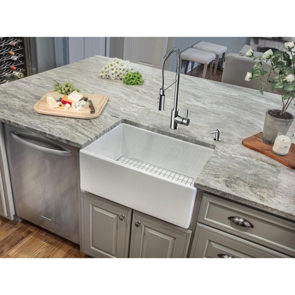 Classico 24 In Apron Front Fireclay Single Bowl Kitchen Sink With Grid And Drain Single Bowl Kitchen Sink Double Bowl Kitchen Sink Farmhouse Sink Kitchen