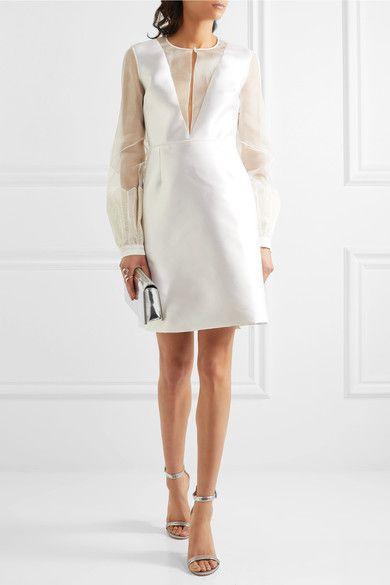 Henrietta Organza-paneled Silk And Wool-blend Mini Dress - Ivory Gabriela Hearst eHCyfVM