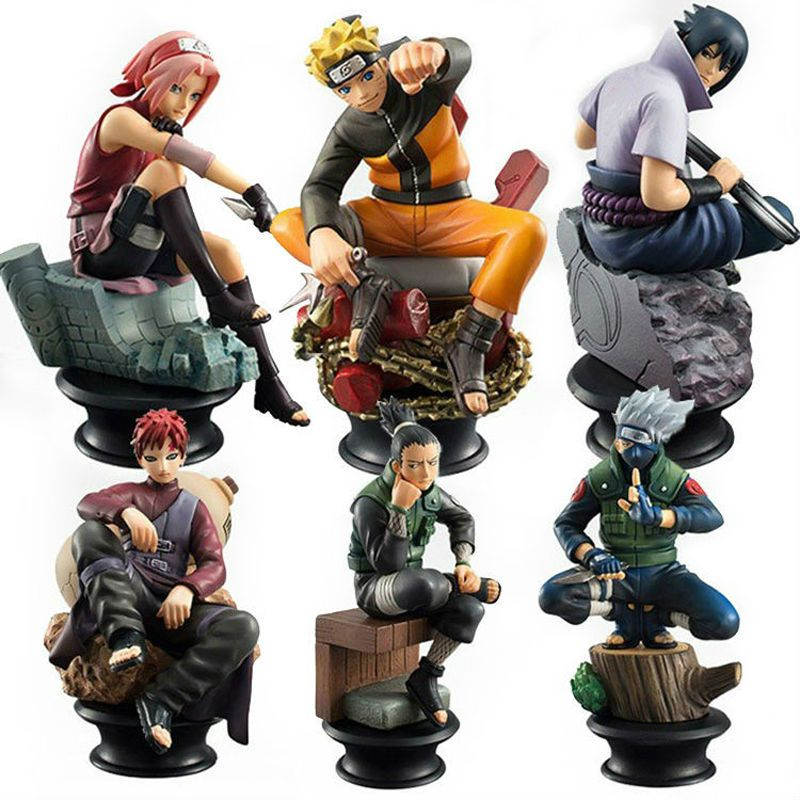 6 Pcs Set Naruto Action Figure Doll High Quality Sasuke Gaara
