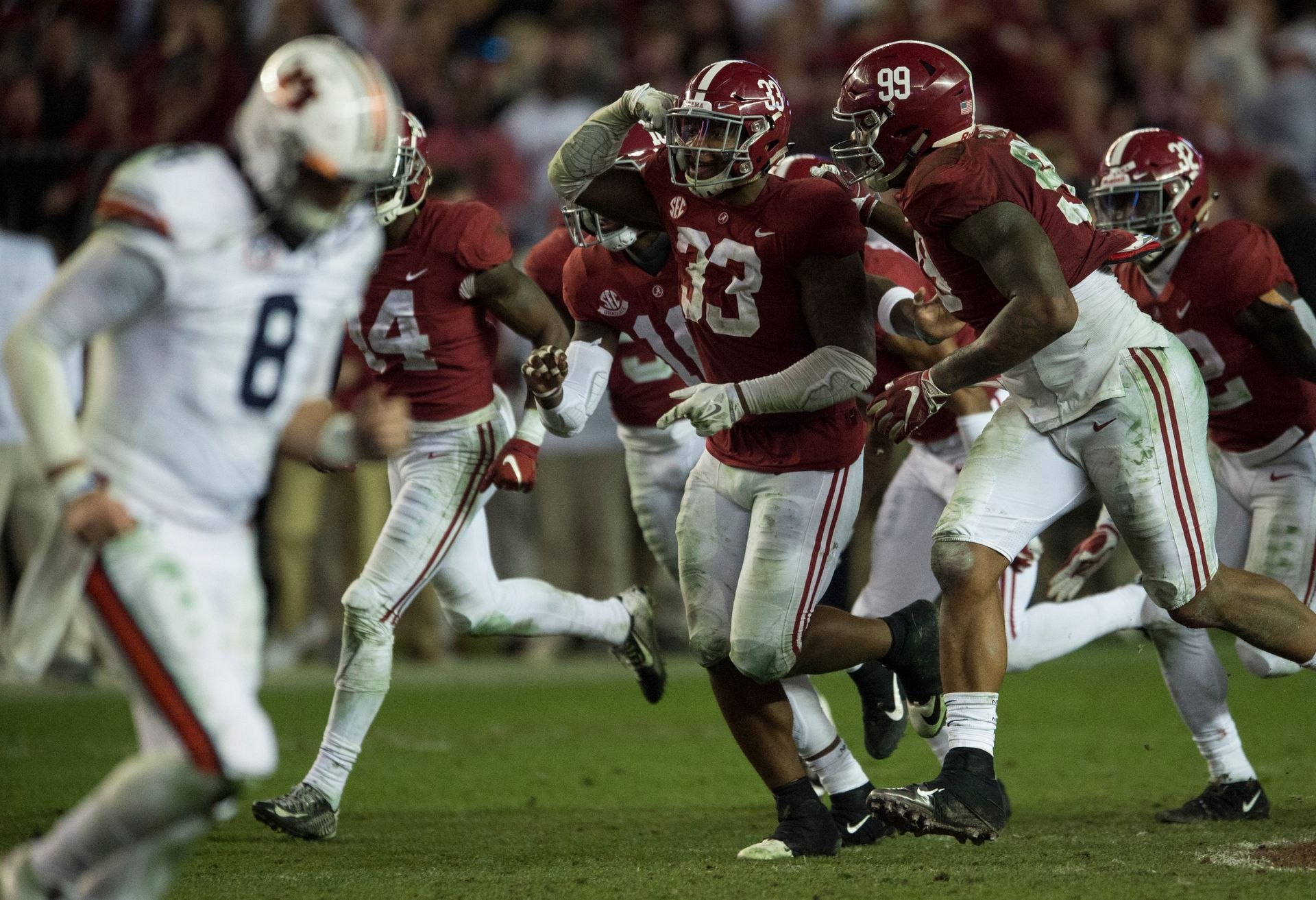 Alabama Linebacker Anfernee Jennings 33 Celebrates After Intercepting The Ball As Auburn Quarterback Jarrett Stidham 8 Ru Alabama Auburn Alabama Tuscaloosa