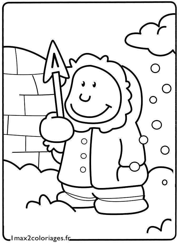 Coloriage Le Petit Esquimau Devant Son Igloo Banquise Pole Nord