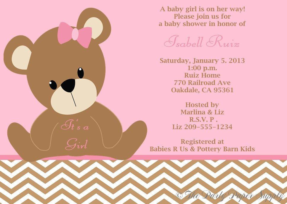 Teddy Bear Chevron Print Baby Shower Invitation Pink And Brown Set