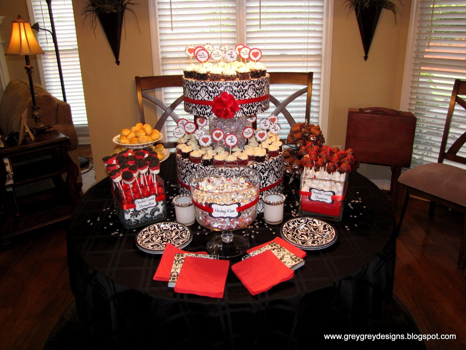 Black white and red wedding reception tables greygrey