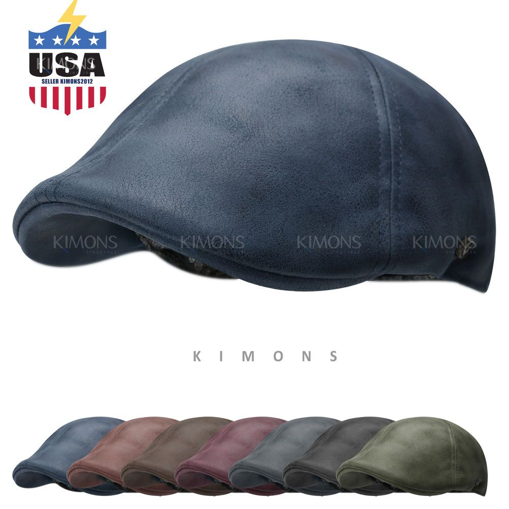 5cc59078a01  14.99 Vintage Leather Solid Gatsby Cap Mens Ivy Hat Golf Driving Flat  Cabbie Newsboy