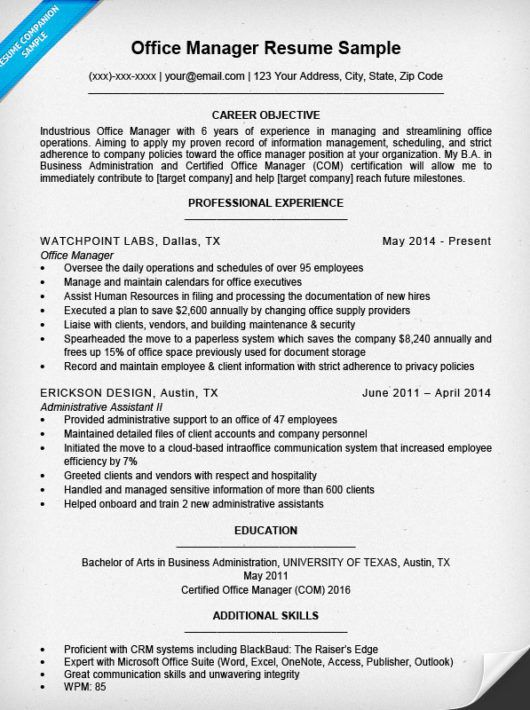 Office Manager Resume Sample Companion Medical Examples  Work