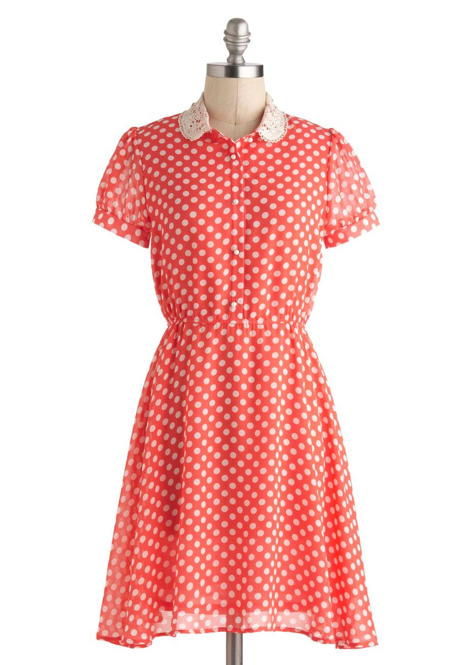 Supper Powers Dress - Mid-length, Coral, White, Polka Dots, Crochet, Pearls, Peter Pan Collar, Casual, A-line, Short Sleeves, Collared, Daytime Party, Vintage Inspired, 30s