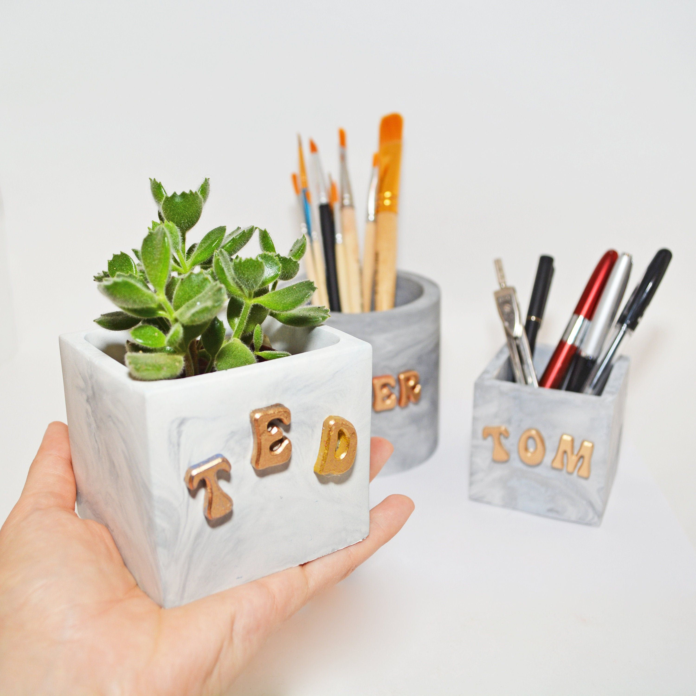 Personalized Succulent planter, Marble pencil cup, Makeup