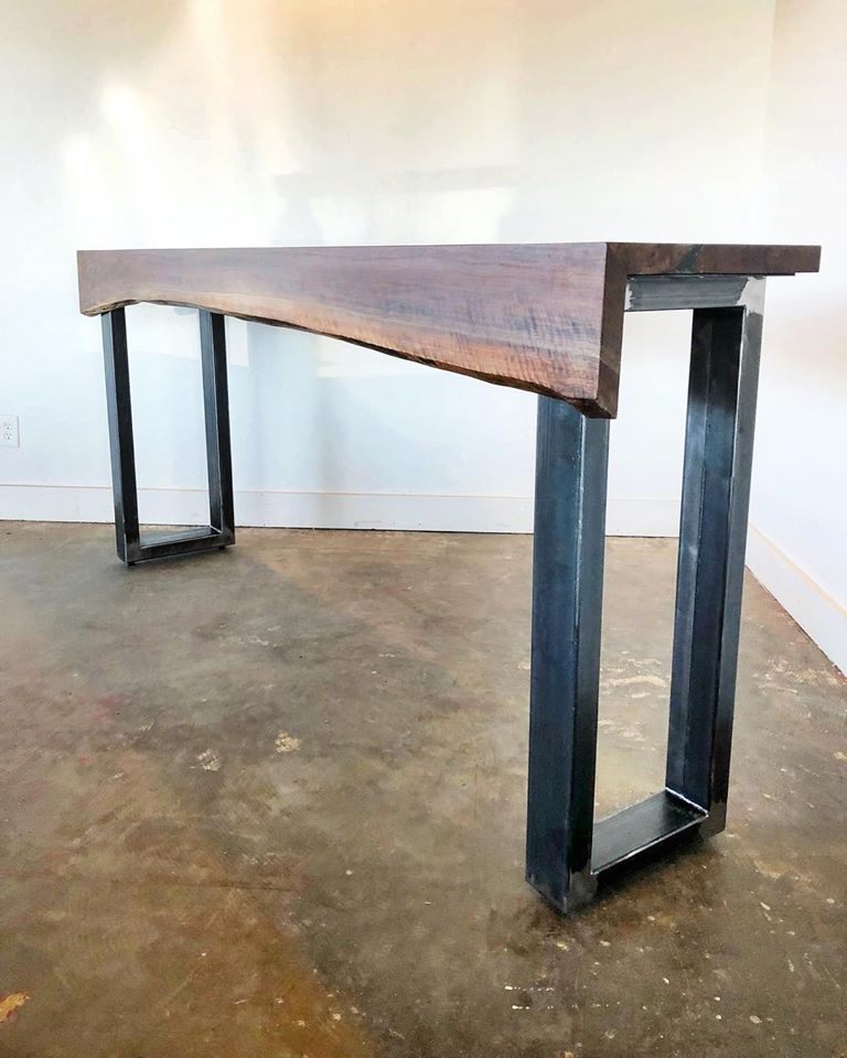 A Del Mar Sofa Table With A Waterfall Walnut Edge Gunmetal Gray Legs And Gorgeous Vintage Reclaimed G G Industr Sofa Table Furniture Design Wood Table