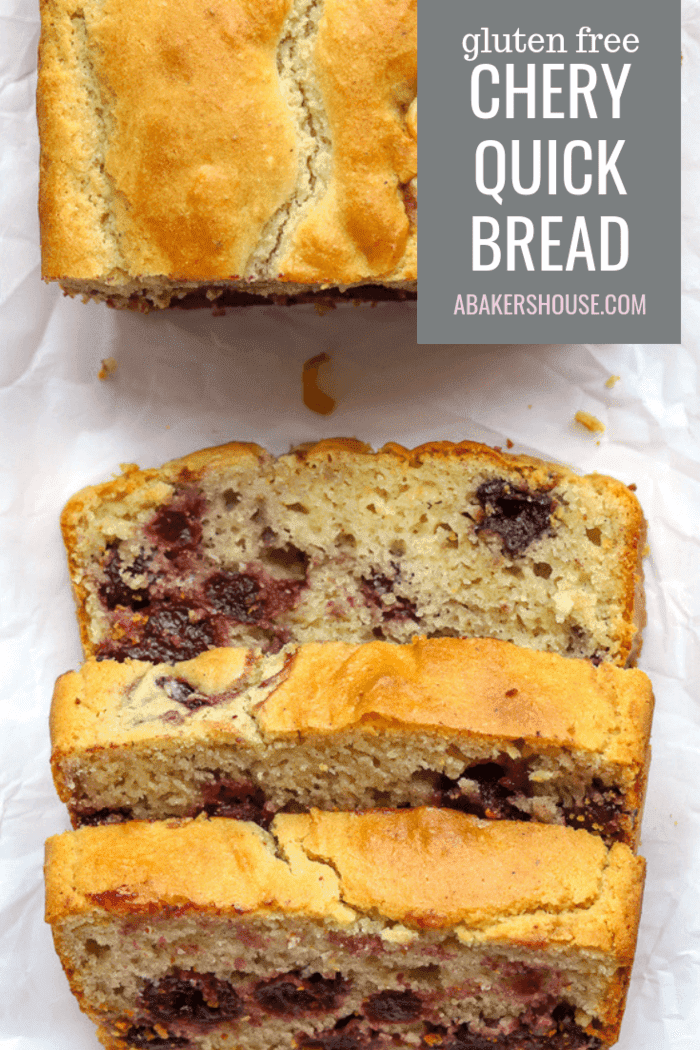 A recipe for gluten free Cherry Quick Bread or traditional cherry quick bread can be made in a loaf pan or in muffins tins. Baking with frozen cherries makes this an easy recipe for any time of year.