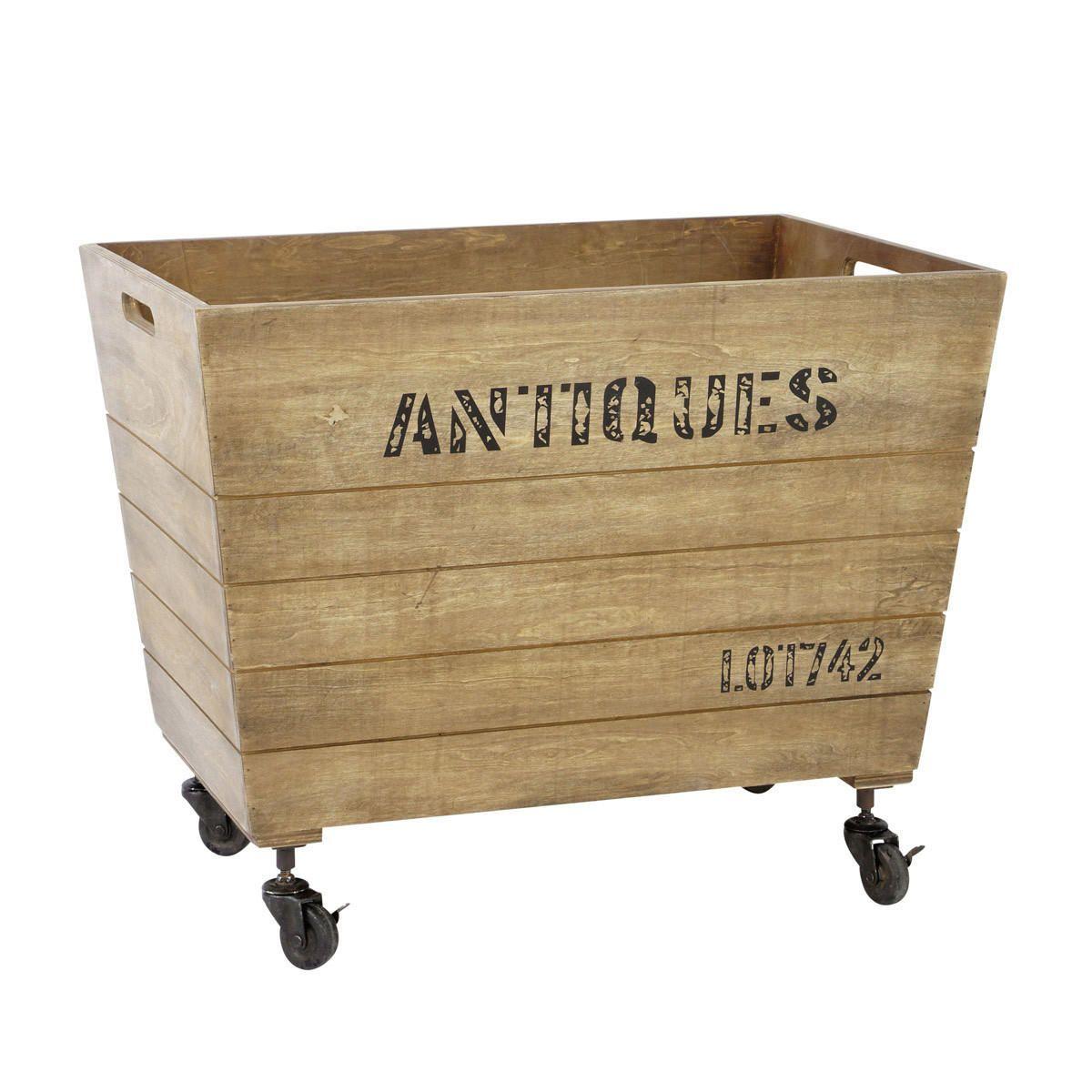 Caisse de rangement roulettes antiquit s bureau et for Cassette di legno ikea