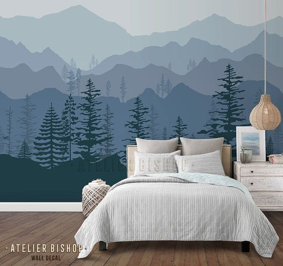 Peel And Stick Ombre Mountain Pine Trees Forest Scenery Nature Wallpaper Wall Decal Sticker For Interior Ombre Mountains Tree Wallpaper Home