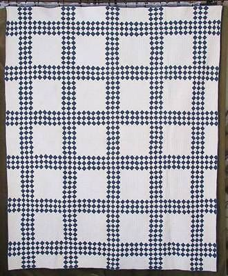 Densely Quilted Antique c1880s Indigo Blue White Quilt | Vintageblessings
