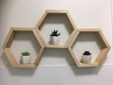 Diy Wall Art Popsicle Stick Hexagon Honey Comb Shelf