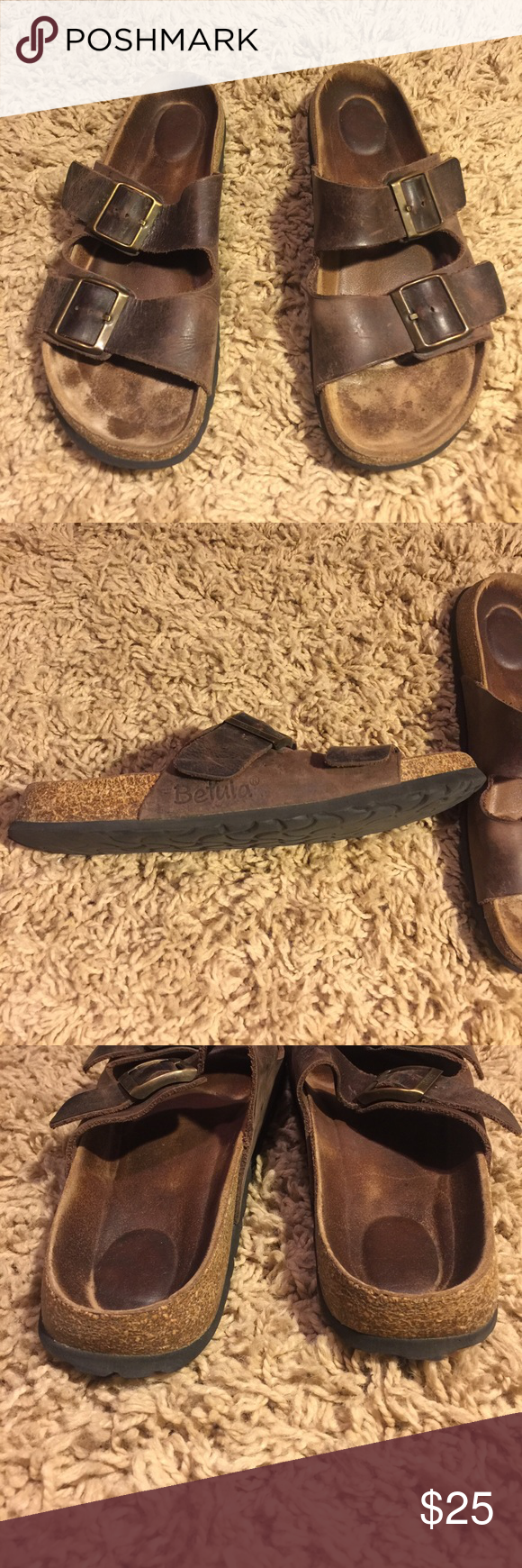 BETULA by Birkenstock leather two strap sandal. Nice pair of BETULA some signs of wear,but still lots left.Two straps brown leather. Birkenstock Shoes Sandals