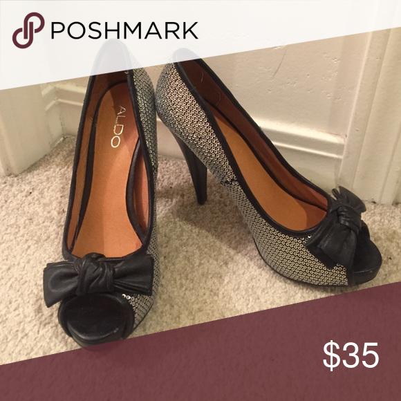 ALDO Peep Toe Heels. Silver Peep Toe HeelsAldo ShoesShoes HeelsPeepsBlack  Silver. Shop Women's Aldo Black Silver size ...