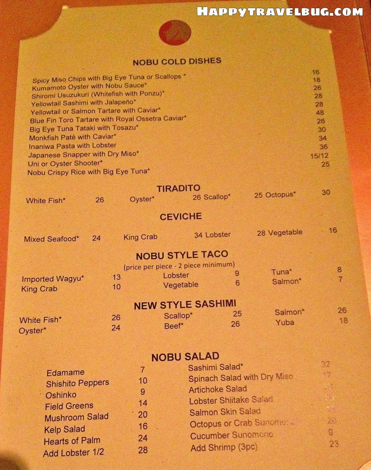 Nobu menu in Las Vegas | Menus | Pinterest | Menu, Asian ...