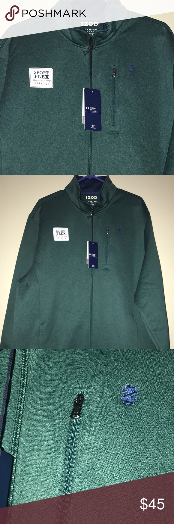 Izod Advantage Performance Zip Up Green Blue Izod Zip Ups Lightweight Shirts [ 1740 x 580 Pixel ]