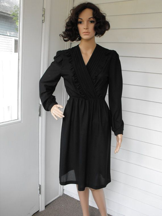 Vintage Sheer Black Dress 70s 80s Secretary S by soulrust on Etsy, $29.99