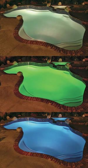 Automated Color Changing Swimming Pool Lights Feature Led Technology The Wave Of The Future In Led Pool Lighting Swimming Pool Lights Swimming Pools