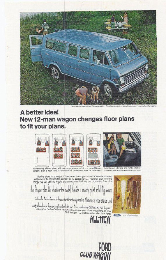 Vintage 1970s Ford Club Wagon Blue 12 Man Model Motors Color