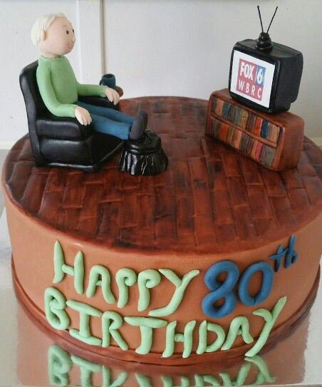 80th Birthday Cake Fox 6 Fan Recliner Chair Old Man