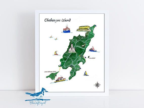 Chebeague Map Chebeague Island Watercolor Art Print Coastal