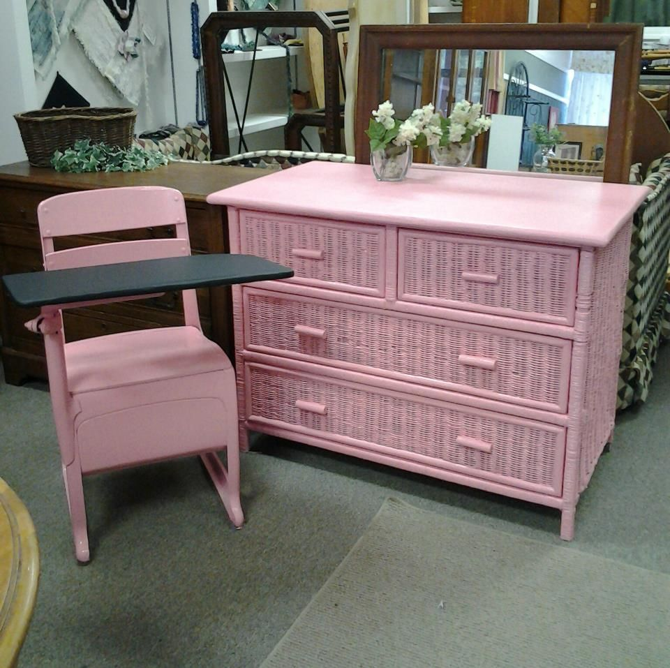 Pink Wicker Dresser Purchased And Customized Here At The Shop Indoor Wicker Furniture White Wicker Furniture Wicker Furniture