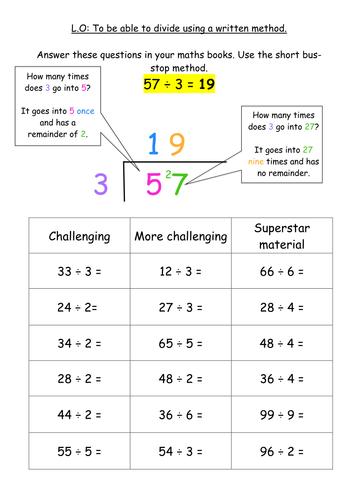 division bus stop method sheet maths math division teaching division maths. Black Bedroom Furniture Sets. Home Design Ideas