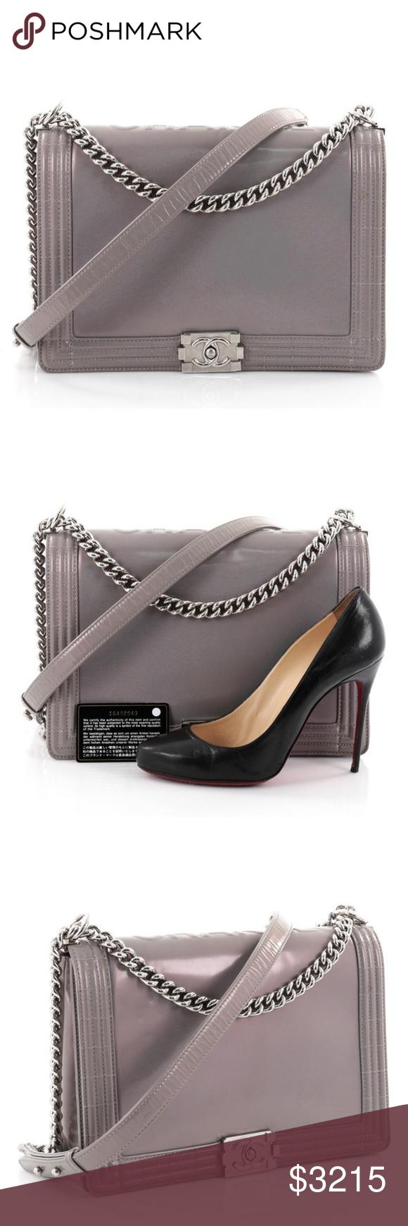 e96ba9303e6706 Chanel Reverso Boy Flap Bag Glazed Calfskin Large Condition: Very good.  Moderate odor,