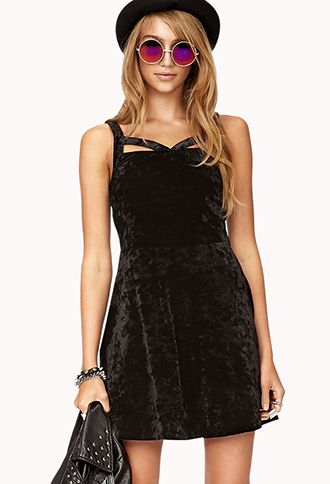 Forever 21 black velvet skater dress