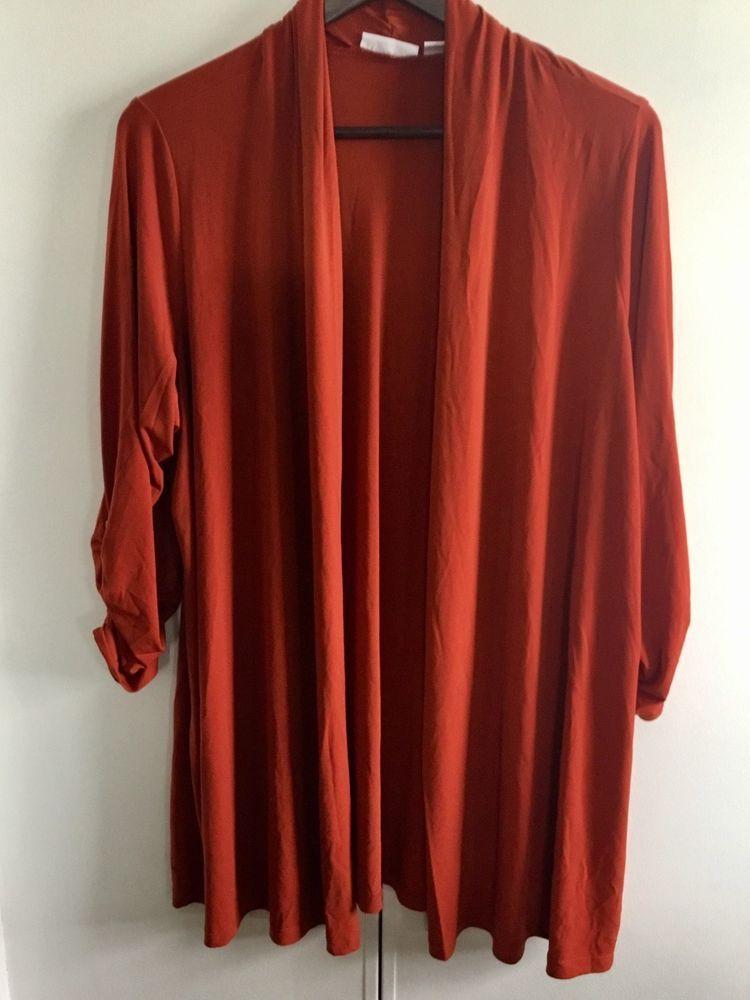SUSAN GRAVER SZ XL ORANGE Liquid Knit Open Front Cardigan Ruched ...