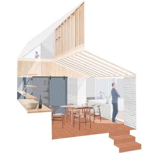 Architectural illustration Shows details construction interior-exterior relationship ROA - Rural Off