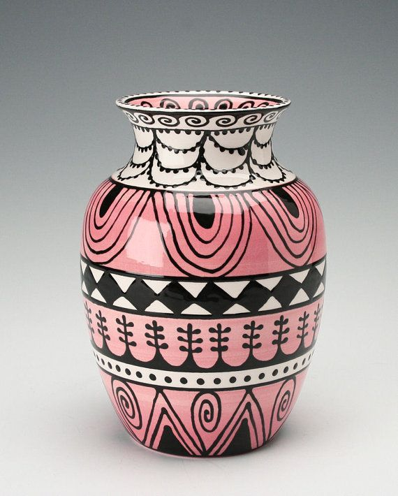 Lovely Vase Pink Black White Ornate Hand Painted Designs Pottery Painting Designs Pottery Art Ceramic Painting