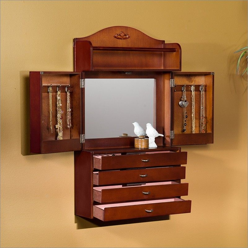 Traditional Wall-Mount Jewelry Armoire in Cherry By Southern Enterprises OL7050 $149.99