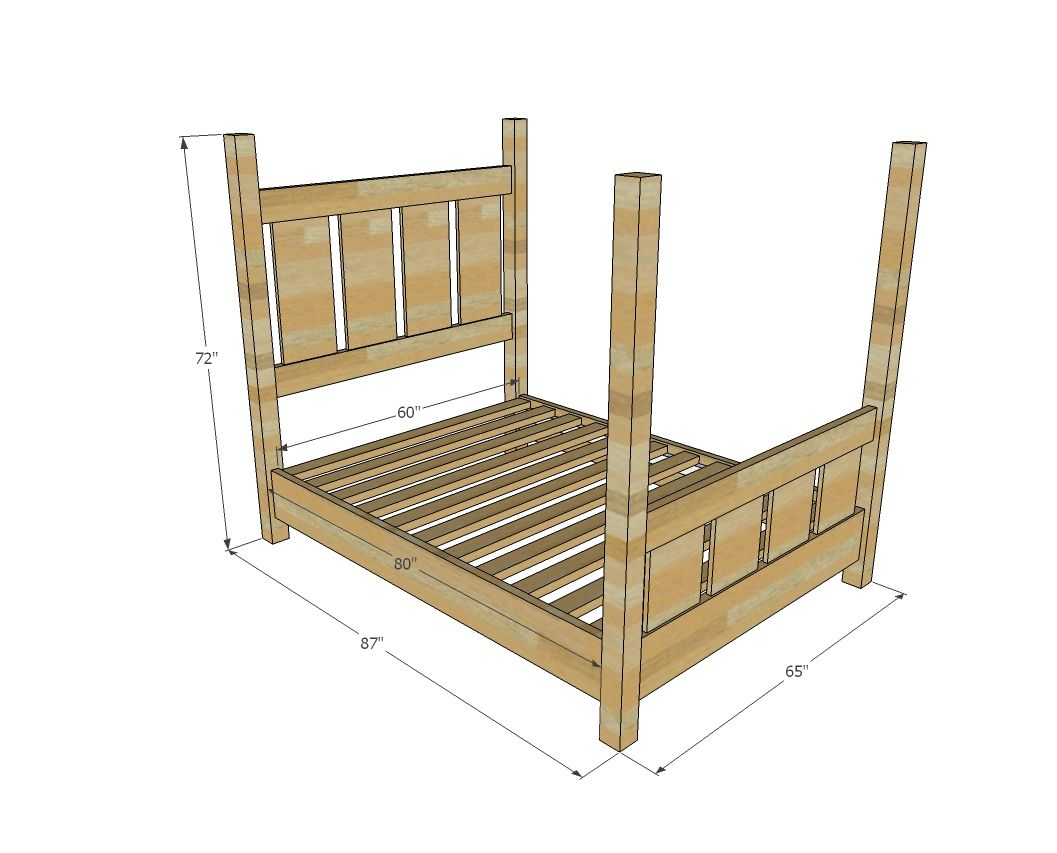 Ana White | Build a Slatted Four Post Farmhouse Bed - QUEEN | Free ...