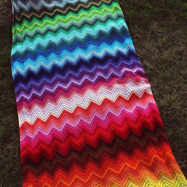 100 Kleuren Zigzag Deken Haakpakket Decke Hakeln Decke Farben