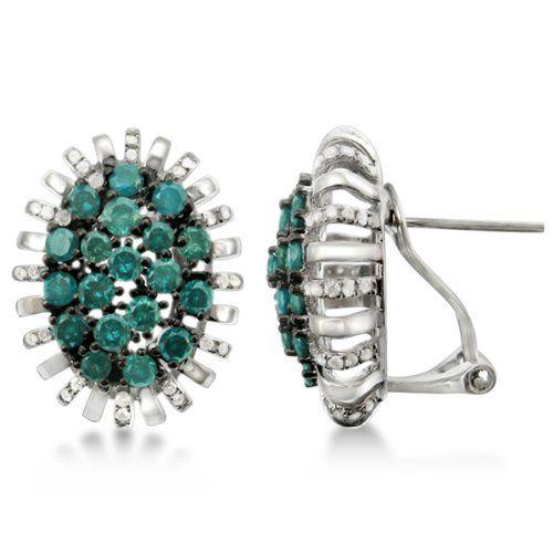 Allurez French Clip Blue Diamond Flower Earrings 14k White Gold 2 40ct Http