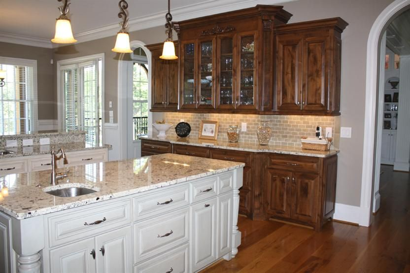 Awesome Knotty Alder Cabinets Stained Dark, Cream Island