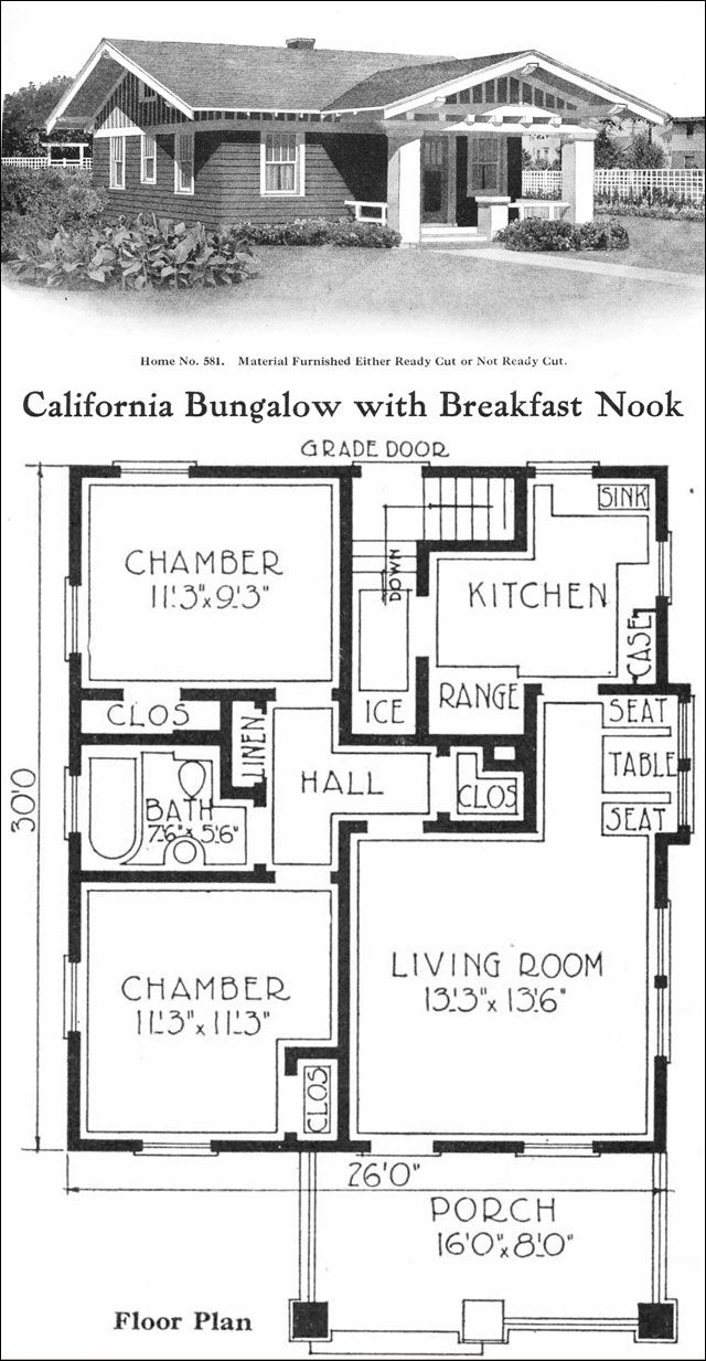 Californiastyle Bungalow Vintage Small House Plans 780 Sq Homivo Small Cottage Plans Small House Floor Plans Cottage Plan