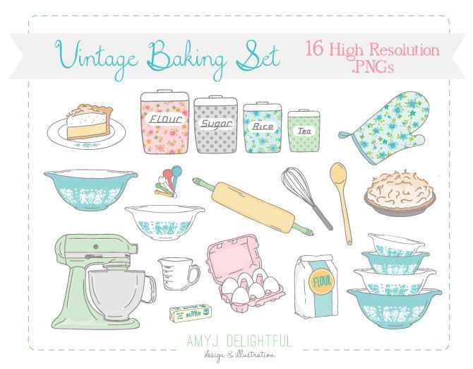 Vintage Baking Kitchen CLIP ART SET for personal and commercial use - pie, mixer, rolling pin, pyrex, canisters by amyjdelightful on Etsy https://www.etsy.com/listing/183141239/vintage-baking-kitchen-clip-art-set-for