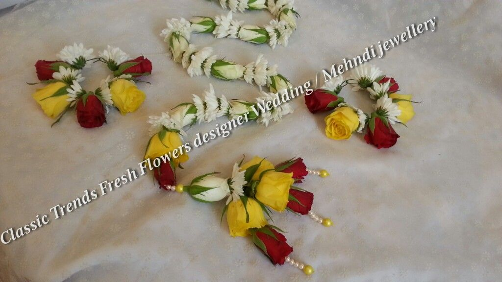 Mehndi Fresh Flowers : Fresh flower mehndi set jewellery pinterest