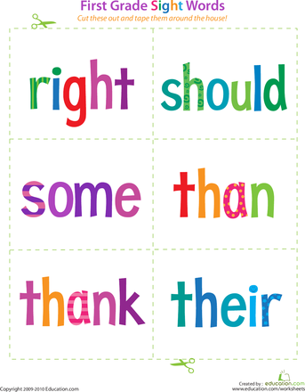 First Grade Sight Words Right To Their Worksheets Child And Summer