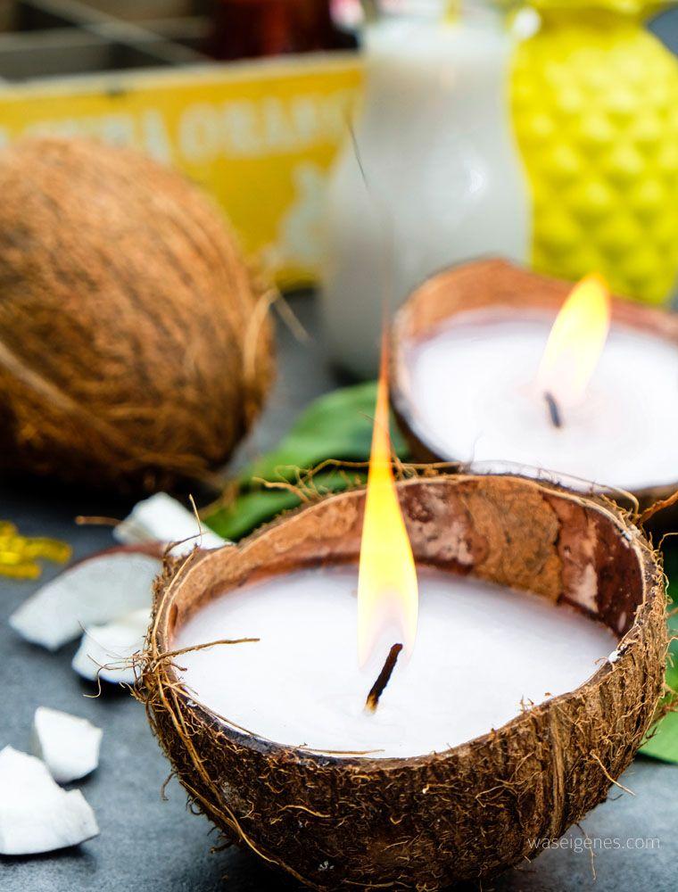 Diy Kokosnuss Kerzen Kerzen Selber Machen Kokosnuss Und