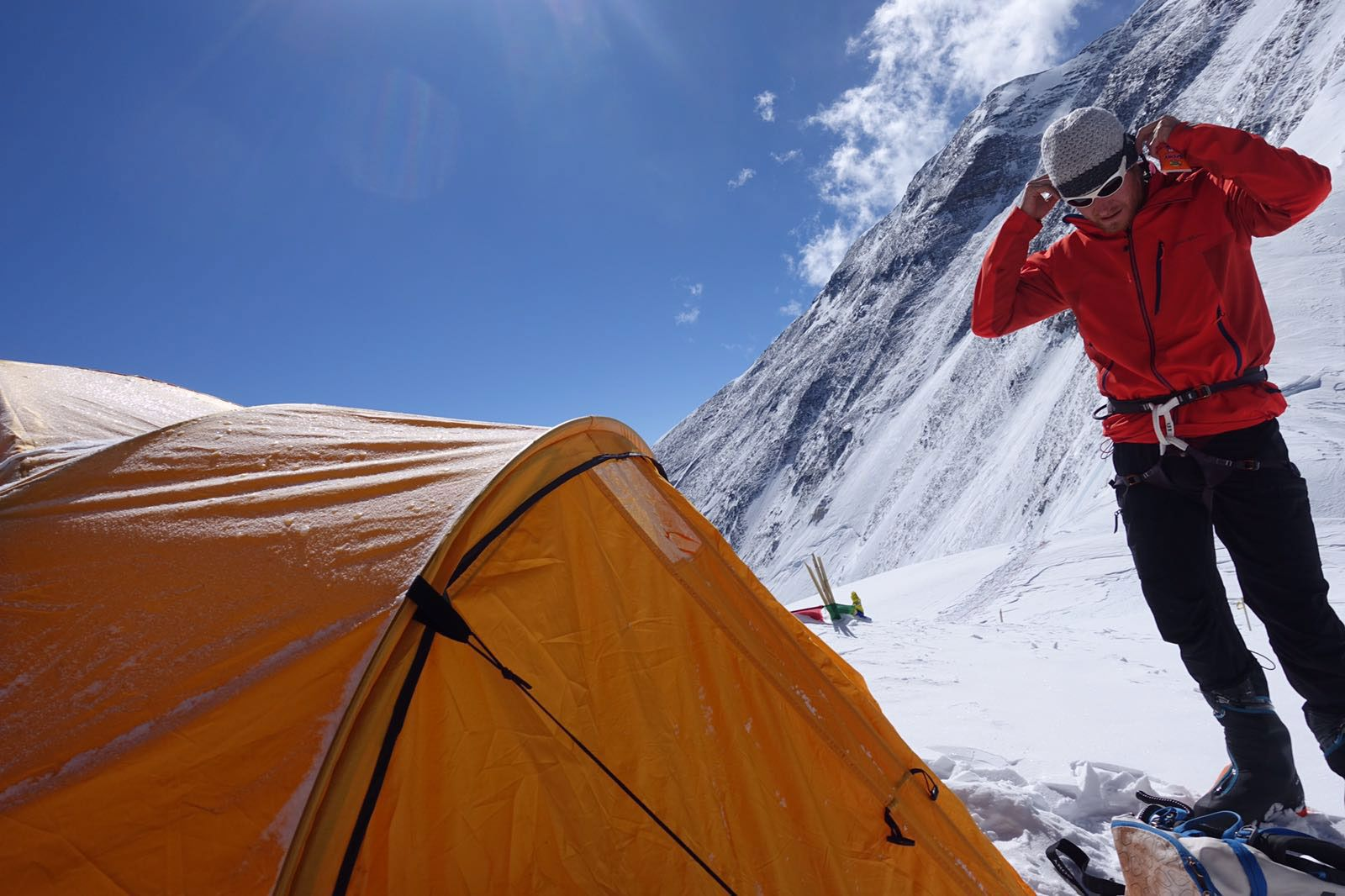 Picture of Cory Richards outside of his tent on Mount Everest & Two Climbers Return to Everest to Snapchat the Summit   Mount ...