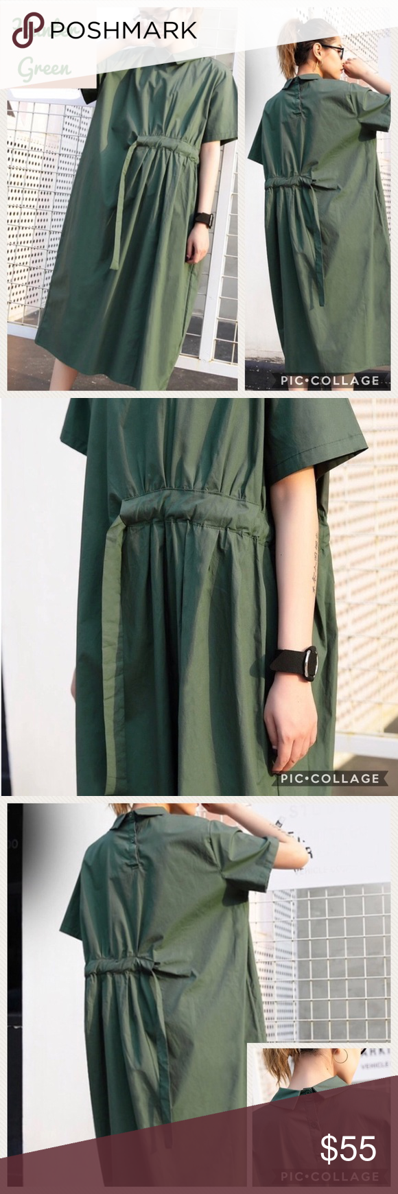 Unique hunter green shirt dress boutique in my posh closet
