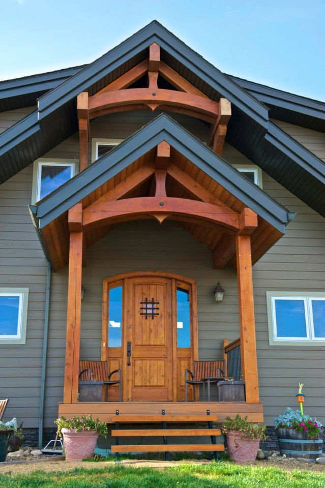 Adding Timber Frame Accents To Your Home Entry Will Dress