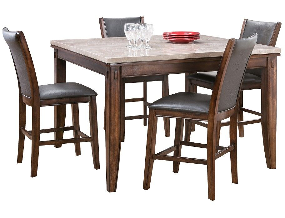 Slumberland Eileen Collection Marble 5pc Counter Dining Set