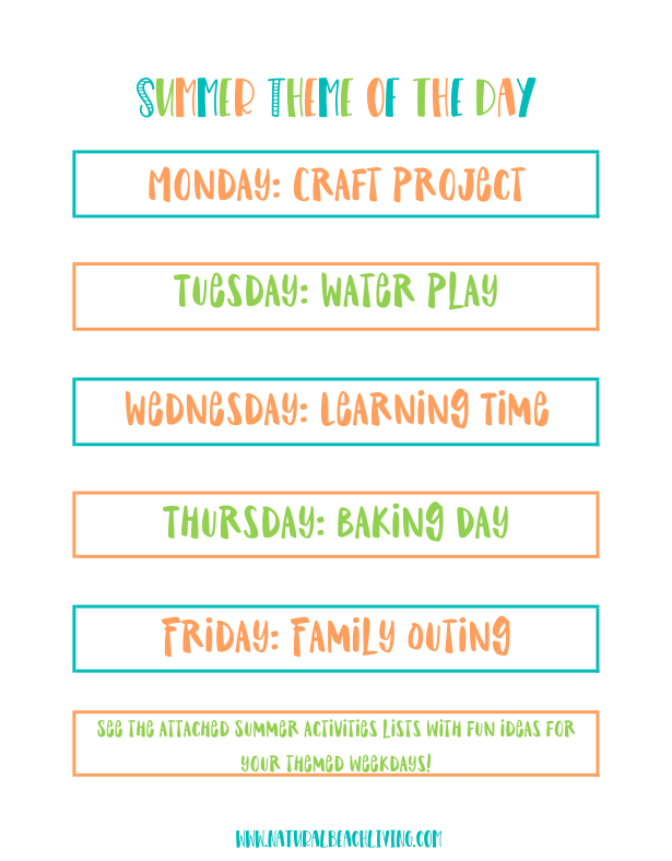 Summer Schedule for Kids - Summer Themes and Summer Rules Kids Will Love - Natural Beach Living #summerschedule This Summer Schedule for Kids is 8 pages of awesomeness for moms and kids. A weekly planner page and summer theme activities to fill your children's days with fun. Summer Rules plus Free Summer Activities, a Chore Chart and Daily Schedule for Kids. This Free Summer Schedule is the best! #summerschedule
