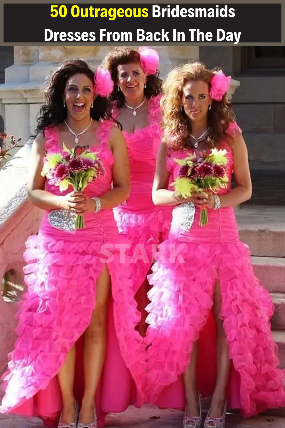 50 Outrageous Bridesmaids Dresses From Back In The Day That Show How Much Times Have Changed In 2020 Bad Bridesmaid Dresses Funny Dresses Horrible Bridesmaid Dresses
